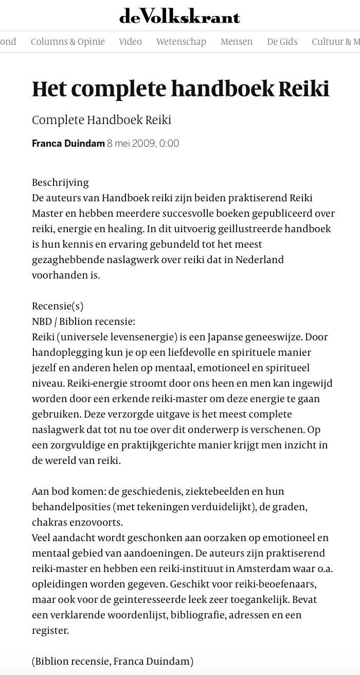Handboek Reiki Volkskrant